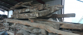Unfinished oak beams
